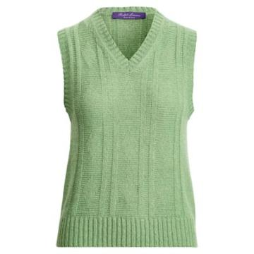 Ralph Lauren Cashmere-linen Sweater Vest Quartz Green