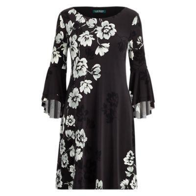 Ralph Lauren Print Flutter-sleeve Dress Grey/black/multi 2p