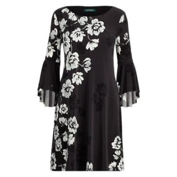 Ralph Lauren Print Flutter-sleeve Dress Grey/black/multi 2p