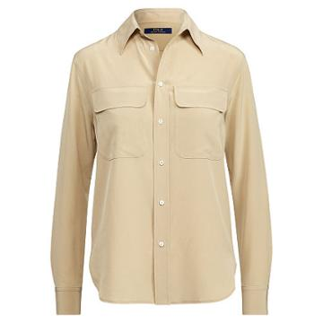 Polo Ralph Lauren Silk Crepe Button-down Shirt Beige