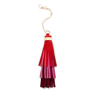Ralph Lauren Ombr Tasseled Handbag Charm Red/passion Pink/claret