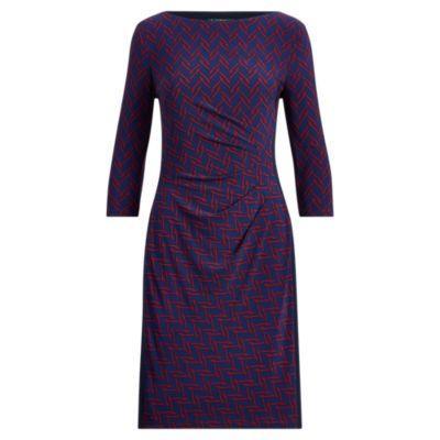 Ralph Lauren Print Stretch Jersey Dress Lh Navy/vibrant Garnet 2p
