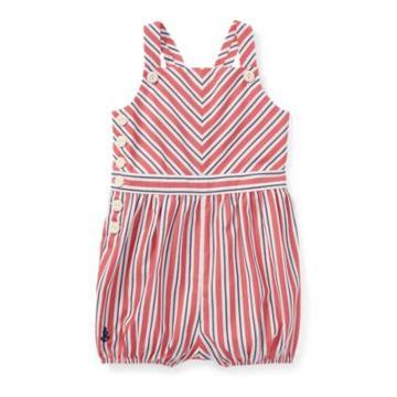 Ralph Lauren Striped Bow-back Cotton Romper Red/white Multi 3m