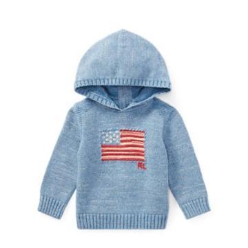 Ralph Lauren Intarsia Flag Cotton Hoodie Light Blue Indigo 3m