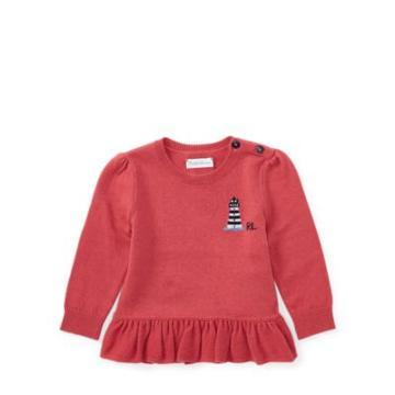 Ralph Lauren Cotton-cashmere Peplum Sweater Nantucket Red 3m
