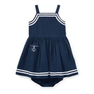 Ralph Lauren Cotton Seersucker Dress Summer Navy 6m