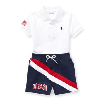 Ralph Lauren Cotton Polo & Short Set White 3m