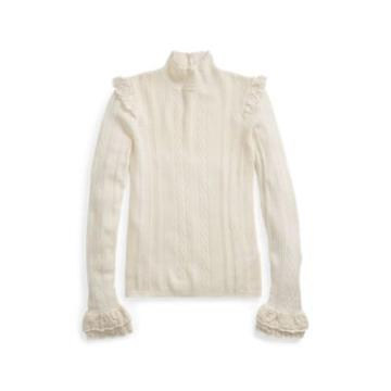 Ralph Lauren Ruffled Pointelle Wool Sweater Cream