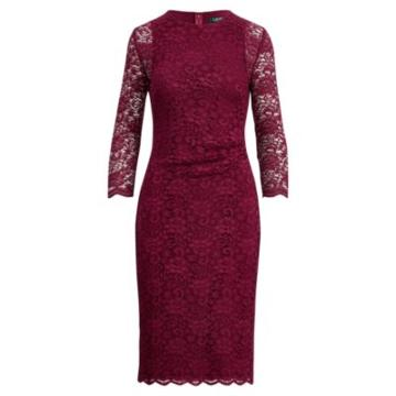 Ralph Lauren Sheer-sleeve Lace Dress New Pomegranate