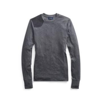 Ralph Lauren Suede-trim Crewneck Top Barclay Heather