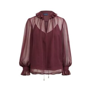 Ralph Lauren Silk Peasant Top Elderberry Purple