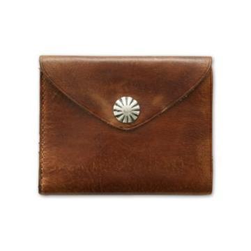 Ralph Lauren Concho Leather Wallet Dark Brown/indigo