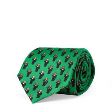 Ralph Lauren Martini Bear Silk Narrow Tie Dark Green
