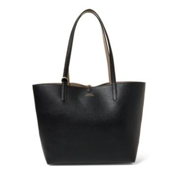 Ralph Lauren Reversible Faux Leather Tote Black/taupe