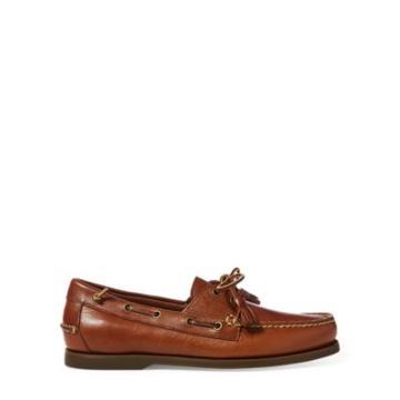 Ralph Lauren Merton Leather Boat Shoe Polo Tan