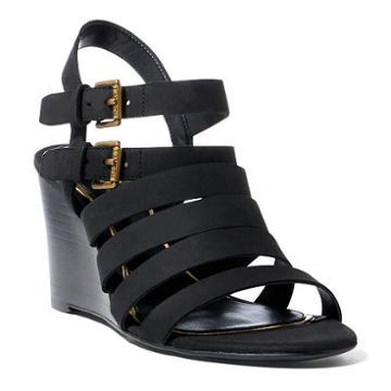 Ralph Lauren Lauren Aleigh Nubuck Wedge Sandal Black