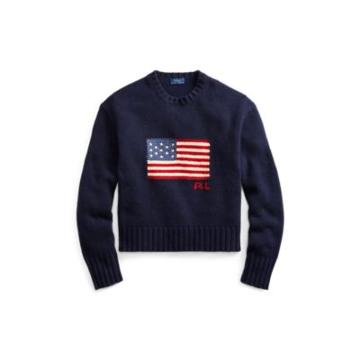 Ralph Lauren Flag Wool-cashmere Sweater Hunter Navy Multi