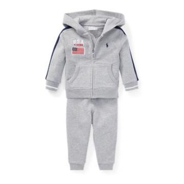 Ralph Lauren Cotton Hoodie & Pant Set Grey Ash Heather 3m