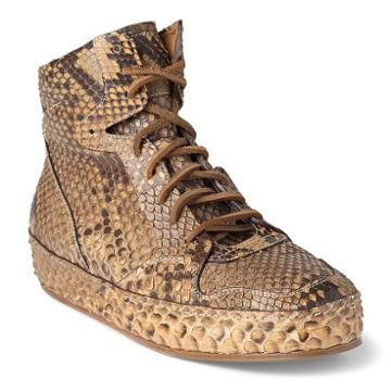 Ralph Lauren Siana Python Sneaker Rl Tan