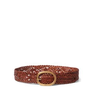 Ralph Lauren Braided Leather Belt Brown