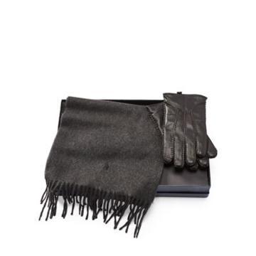 Ralph Lauren Cashmere Scarf & Glove Set Black/windsor Heather