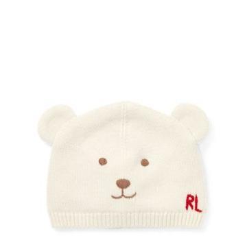 Ralph Lauren Embroidered Bear Hat Chic Cream 12-24m
