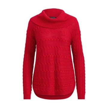 Ralph Lauren Cable-knit Funnelneck Sweater Lipstick Red