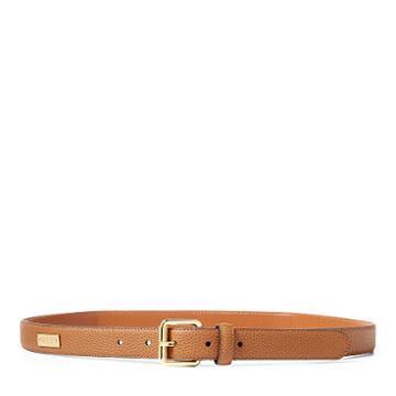 Ralph Lauren Lauren Pebbled Leather Belt Field Brown
