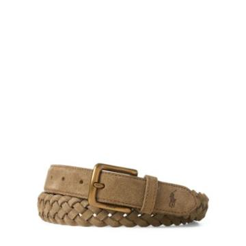 Ralph Lauren Braided Suede Belt Bamboo