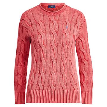 Polo Ralph Lauren Boxy Cable Cotton Sweater Red