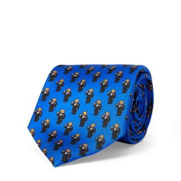 Ralph Lauren Martini Bear Silk Narrow Tie Royal