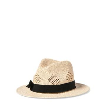 Ralph Lauren Pointelle Straw Fedora Natural/black