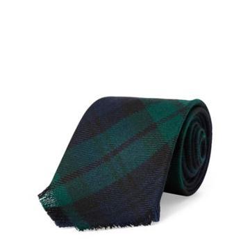 Ralph Lauren Fringe Tartan Wool Narrow Tie Navy/green