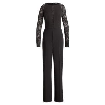 Ralph Lauren Lace-sleeve Jersey Jumpsuit Black/black