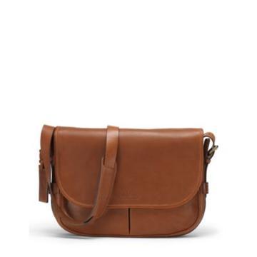Ralph Lauren Smooth Leather Messenger Bag Cognac