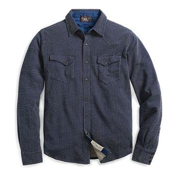 Ralph Lauren Rrl Indigo Jacquard Western Shirt