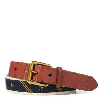Polo Ralph Lauren Bee-overlay Webbed Belt Navy Multi