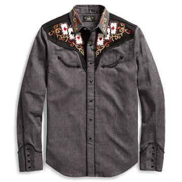 Ralph Lauren Rrl Saddle Cotton Western Shirt