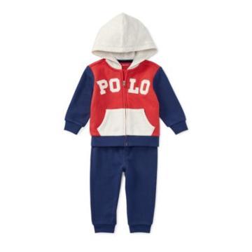 Ralph Lauren Cotton Hoodie & Pant Set Maine Red 9m