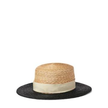 Ralph Lauren Straw Boater Hat Natural Multi