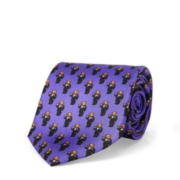 Ralph Lauren Martini Bear Silk Narrow Tie Purple