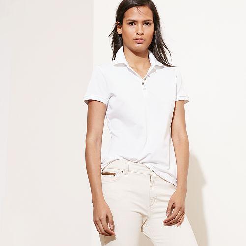 Ralph Lauren Lauren Monogrammed Polo Shirt White