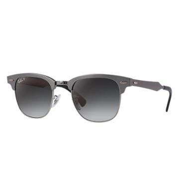 Ray-ban Clubmaster Aluminum Gunmetal Sunglasses, Polarized Gray Lenses - Rb3507