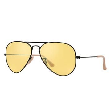 Ray-ban Men's Aviator Evolve Black Sunglasses, Yellow Lenses - Rb3025