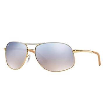 Ray-ban Gold Sunglasses, Blue Lenses - Rb3387