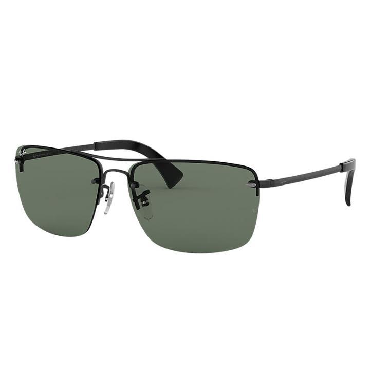 Ray-ban Black Sunglasses, Green Lenses - Rb3607