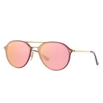 Ray-ban Men's Blaze Double Bridge Gold Sunglasses, Pink Lenses - Rb4292n