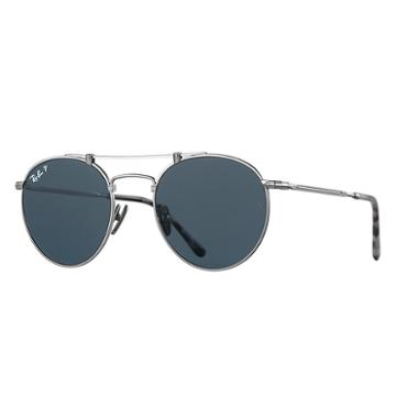 Ray-ban Round Titanium Matte Silver Sunglasses, Polarized Blue Lenses - Rb8147m