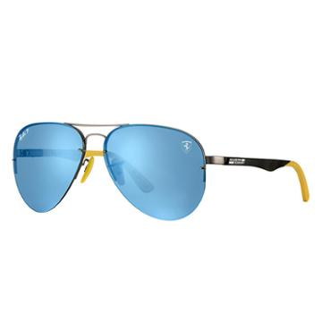 Ray-ban Scuderia Ferrari Br Gp17 Ltd Black Sunglasses, Polarized Blue Lenses - Rb3460m