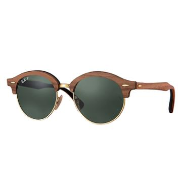 Ray-ban Clubround Wood Brown Sunglasses, Polarized Green Lenses - Rb4246m